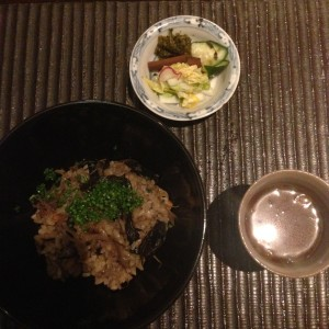 Burdock Root Rice with seasonal mushrooms, house made pickles and miso soup