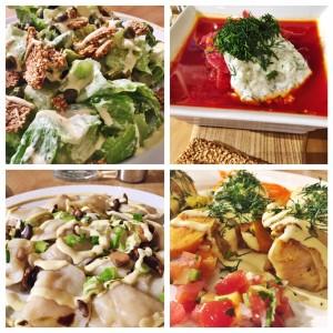 Clockwise (top left to right): Cesar Salad, Borscht, Stuffed Cabbage, Pirogies