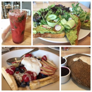 Clockwise (top left to right): What-a-Melon Refresher, Avocado Toast, Pancakes, Chia