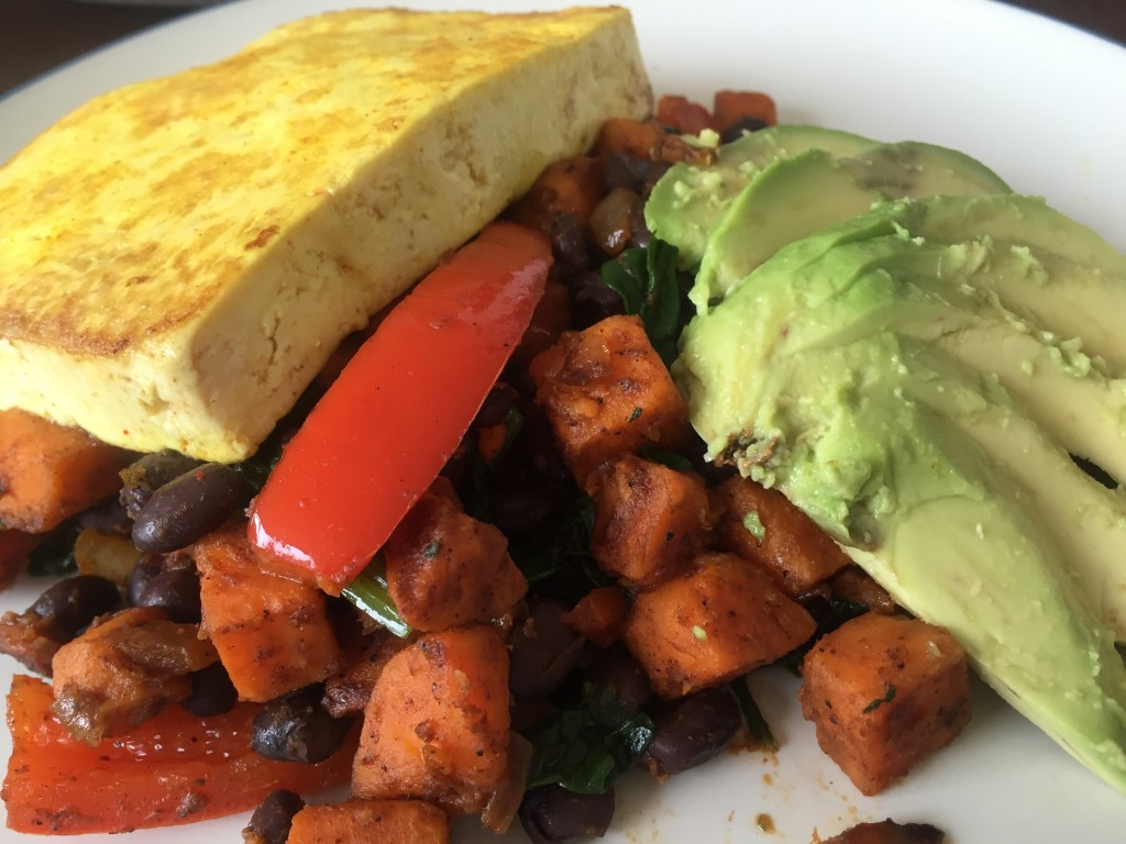 Topped with seared tofu and avocado