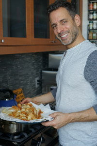 Thanks to our friend Liz Dee who got a photo me as I was frying up the chips